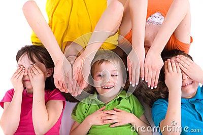 Children playing Peekaboo