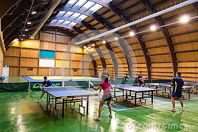 Children Playing Ping Pong Editorial Stock Photo
