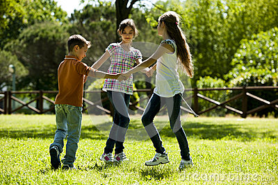Children playing ring-around-the-rosy