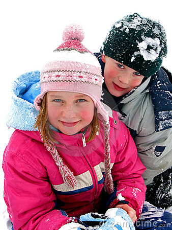 CHILDREN PLAYING IN SNOW (click image to zoom)
