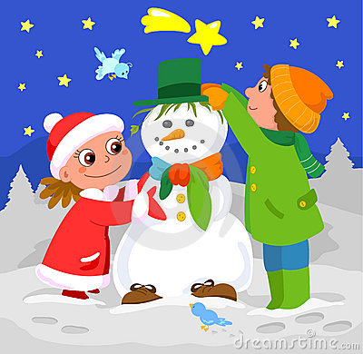 Children playing with snowman
