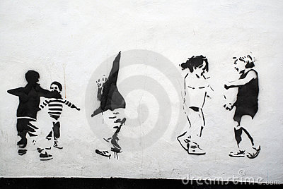 Children Playing Stencil Art