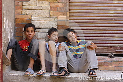 Boys on streets of Giza Editorial Photography