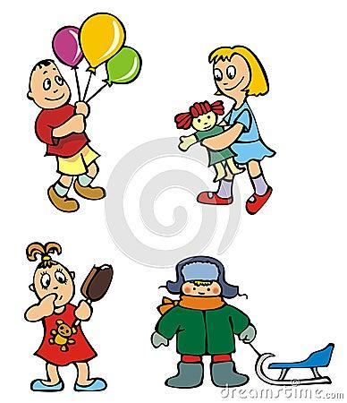 Children playing, vector