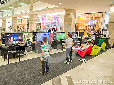 Children Playing Video Games Editorial Stock Image