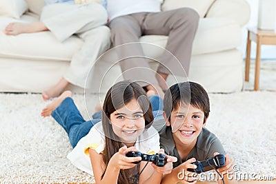 Children playing videogames