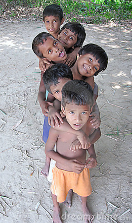Children playing in a village Editorial Stock Photo
