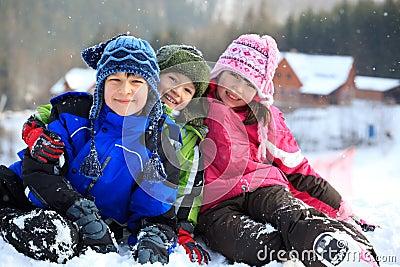 Children playing in winter