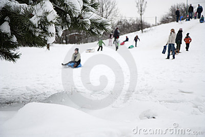 Children Playing In Winter Stock Photos - Image: 12476563