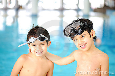 Children at pool, happiness
