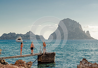 Children in popular Cala d Hort Beach Editorial Photography