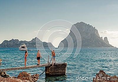 Children in popular Cala d Hort Beach Editorial Photography
