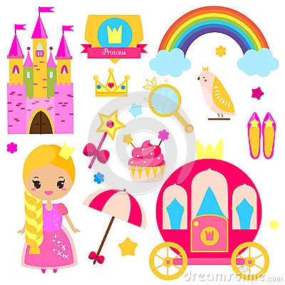 Free Children Princess Party Design Elements. Stickers, Clip Art For Girls. Carriage, Castle, Rainbow And Other Fairy Symbols Stock Photography - 99292852