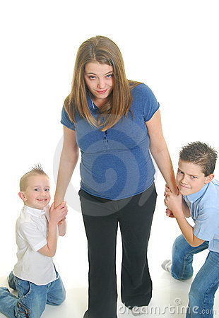 Free Children Pulling On Mother Royalty Free Stock Photos - 12371648