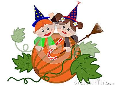 Children on the pumpkin.