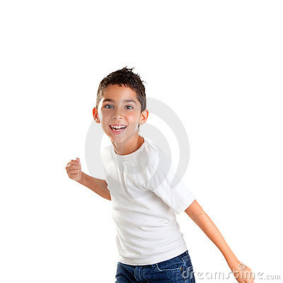 Children punch boy funny gesture smiling