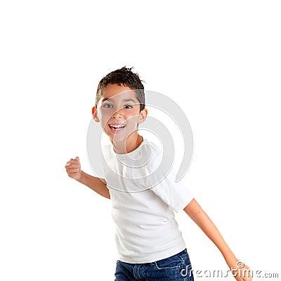 Children punch boy funny gesture smiling