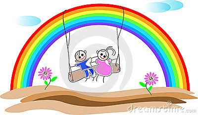 Children with rainbow
