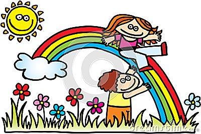 Children with rainbow