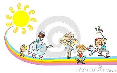 Children on the rainbow with sun