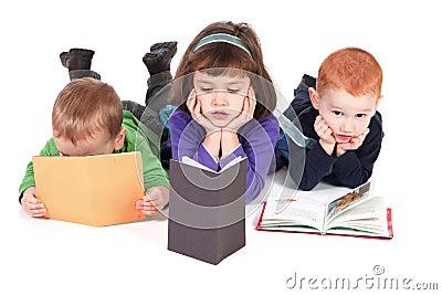 Children reading kids books isolated