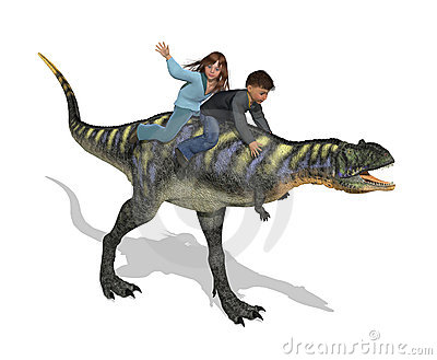 Children Riding a Dinosaur