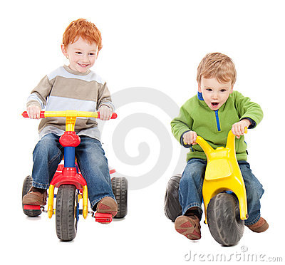 Free Children Riding Kids Tricycles Stock Photography - 19030022