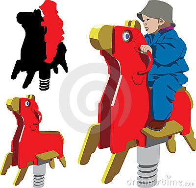Children riding rocking horse