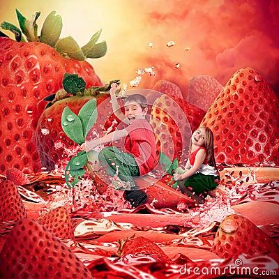 Children Riding Strawberry Fruit Landscape