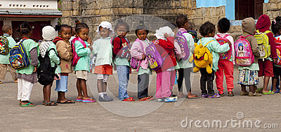 Children in the row Editorial Image
