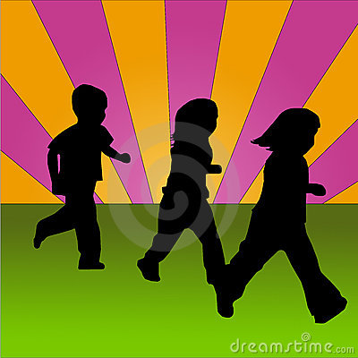 Children running on a coloured background