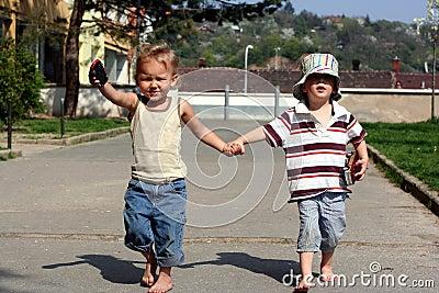 Children are running forward