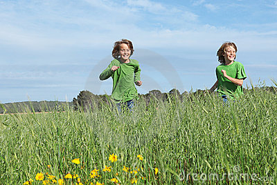 Children running playing outdoors