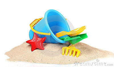 Children s beach toys and sand