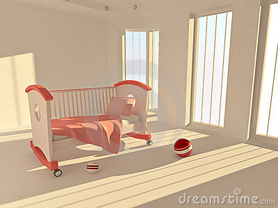 Children s bed in an empty room, lit by sunlight