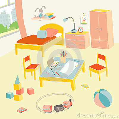Children`s bedroom interior with furniture and toys. Kids playroom in flat style. Hand drawn cartoon illustration on Vector Illustration