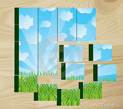 Children s cubes with the nature image