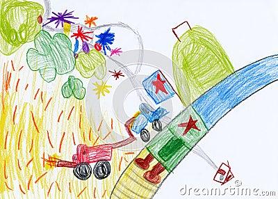 Children s drawing. harvesting in village