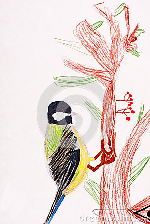 Children s drawing. little bird