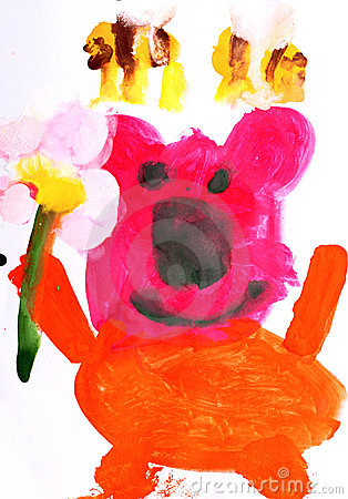 Children s drawing Teddy bear and bees