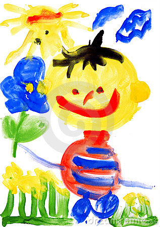 Children s drawing water color paints