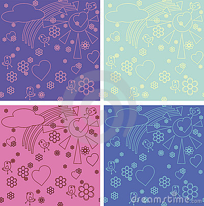 Children s drawings seamless pattern