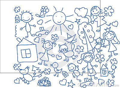 Children s drawings,vector