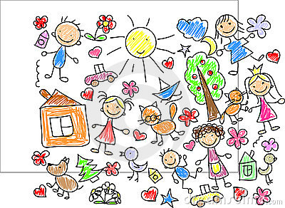 Children s drawings,vector