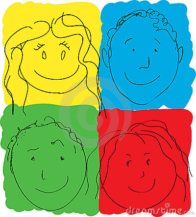 Children s Faces, Primary Colors
