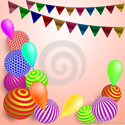 Children`s festive background with flags and balls on a soft pink background Stock Photo
