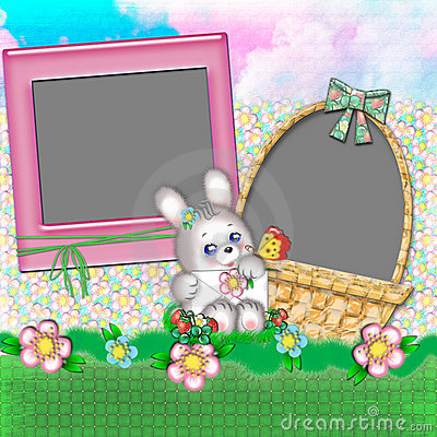 Children's frame with a rabbit.