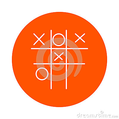 Children`s game - Tic-tac-toe, monochrome round line icon for your website or booklet, flat style. Stock Photo