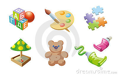 Childrens games icons set