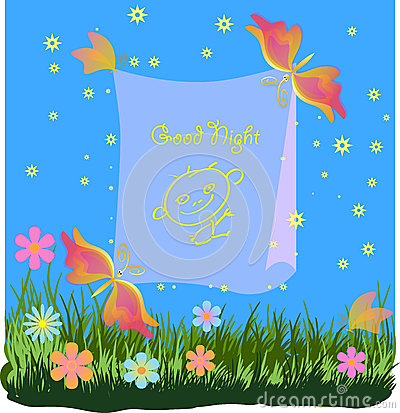 Children s greetings card with butterflies and fl